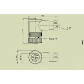 CONECTOR M12 FEMEA SEM CABO 90G 4 VIAS