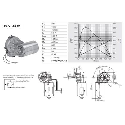 Motor Bosch Cep F 006 Wmo 310  24V 51Rpm