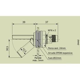 SENSOR NIVEL LF322E-M12 22MM PPA 125C PRETO MINI BUCHA EXPAN